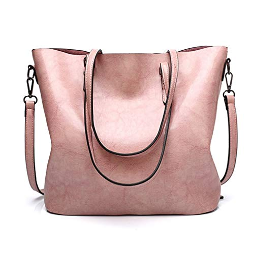 Pahajim Women Leather Top Handle Handbags Satchel Purse Shoulder Bag Lady Tote Bag(Pink)