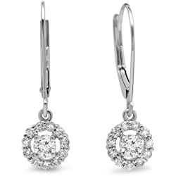 0.55 Carat (ctw) 14K Gold Round Cut Diamond Ladies Cluster Halo Style Drop Earrings 1/2 CT