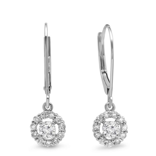 0.55 Carat (ctw) 14K White Gold Round Cut Diamond Ladies Cluster Halo Style Drop Earrings 1/2 CT by DazzlingRock Collection