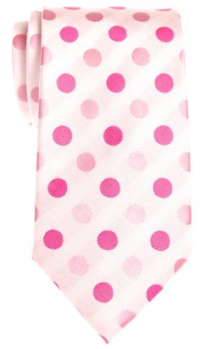 White / Pink Polka Dots (Retreez Two-Color Polka Dots Woven Microfiber Men's Tie - White with Pink Polka Dots)