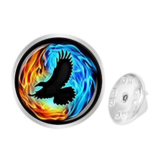 (WAZZIT Round Metal Tie Tack Hat Lapel Pin Brooches Colorful Twin Flames with Raven Banquet Badge Enamel Pins Trendy Accessory Jacket T-Shirt)