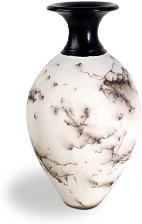 Modern Artisans American Made Horsehair Pottery Decorative Vase in White, Classic Design