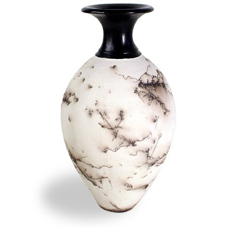 Pottery Southwestern American Native (Modern Artisans American Made Horsehair Pottery Decorative Vase in White, Classic Design)