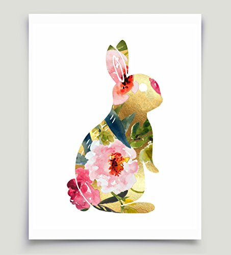 Floral Watercolor Bunny Rabbit Pink and Gold Art Unframed Paper Print