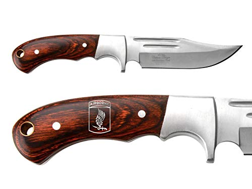 NDZ Performance Full-Tang Fixed Blade Hunting Straight Edge Knife Elk Ridge ER-052 Wood Bolster with Sheath Army 173rd Airborne Division Emblem - Silver Paint (Division 173rd Airborne)