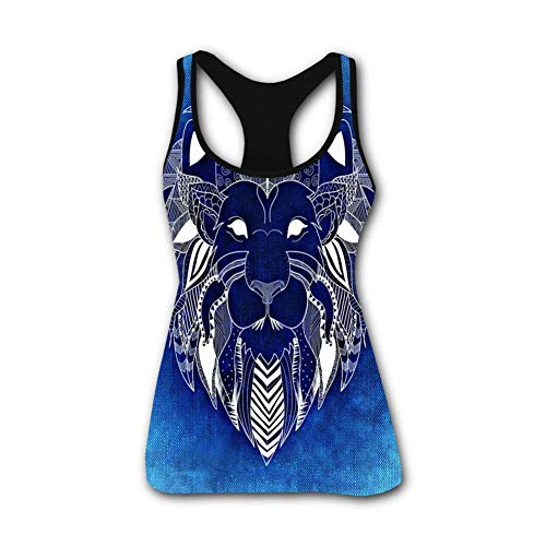 Portraits Primitive - onecup Lion Primitive Portrait Totem Stretch Casual Tank Tops for Activewear Workout and Yoga M Black