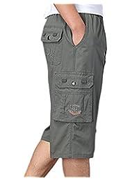 LIVEINU Men's Casual Cargo Shorts Elastic Waist Short Big and Tall