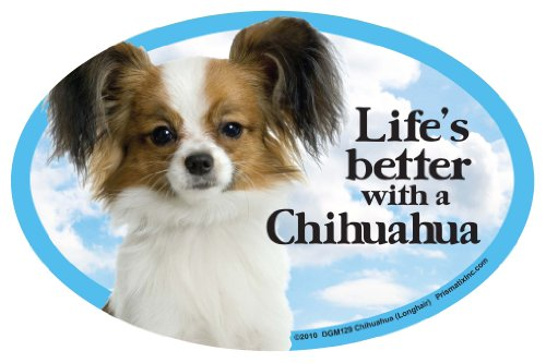 Prismatix Chihuahua (long) Oval Dog Magnet for Cars