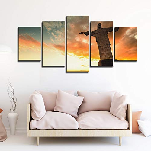 ZEMER HD Print On Canvas Artwork Wall Art The Picture Christ The Redeemer Statue at The Top of Corcovado Mountain in Rio De Janeiro Portrait Statue,No Frame,L ()