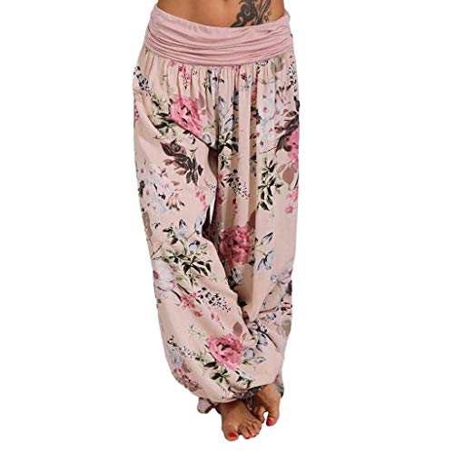 JOFOW Pants Womens Harem Casual Boho Flowers Floral Print Loose Bloomers Pleated Long Mid Waist Aladdin Saggy Yoga Trousers (M,Pink)