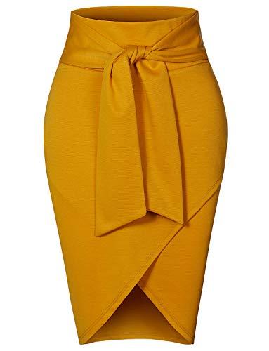RK RUBY KARAT Womens Asymmetrical High Waisted Self Tie Casual Formal Pencil Midi Skirt, Mustard, Small