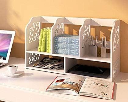 2-Nivel DIY Estantería Organizador de Escritorio Unidad de Caja de Almacenamiento de CD Libros Biblioteca Estante Librería de Exhibición para Mesa de Trabajo Estudio en Hogar Oficina (Modelo B-Grande): Amazon.es: Oficina y