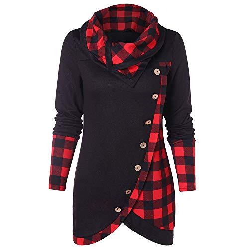 BeautyGal Women's Cowl Neck Plaid Button Hoodie Tunic Sweatshirt Tops(Black Red M) ()