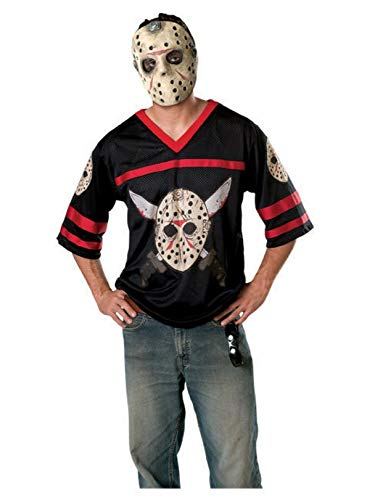 Friday The 13th Jason Hockey Jersey And Mask, Black, X-Small