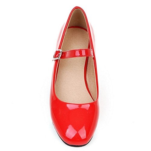 Red Low Jane Square Heel Toe Shoes Thick Western Women TAOFFEN Mary Court tUwaWqCPBc