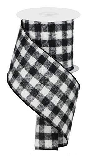 Lumberjack Ribbon,4'' Wide x 10 Yards, Black White Buffalo Check Ribbon - Fuzzy Flannel : Lumberjack Party Supplies :