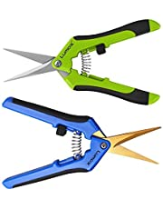 Lumo-X Micro-Tip Trimming Scissors 2 Pack Pruning Snips Package with Titanium Coated Non-Stick Stainless Steel Curved Blades & Straight Blades for Precision Trimming Pruner for Flowers Buds Leaves Stems, Bonsai, Indoor Plant Grow, Outdoor Garden, Hydroponics