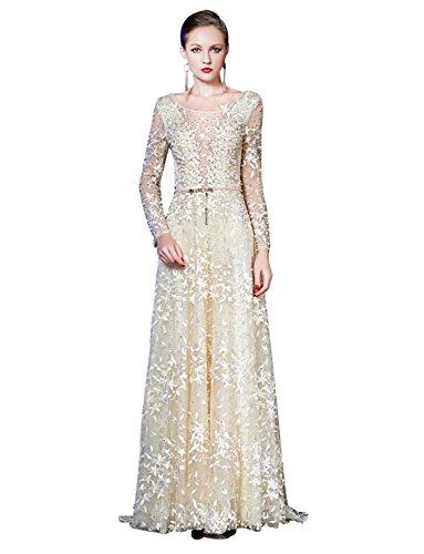 Erosebridal Lange Abendkleider Hochzeitskleid Ärmel Formal Spitzenstickerei 0Frz0qAw