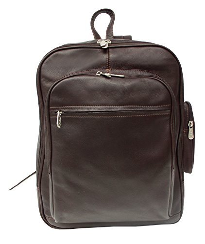 Piel Leather Entrepeneur Front-Pocket Computer Backpack in Chocolate