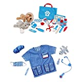Island Time Brands Bundle Includes 2 Items - Melissa & Doug Veterinarian Role Play Costume Dress-Up Set 9 pcs and Melissa & Doug Examine and Treat Pet Vet Play Set 24 pcs