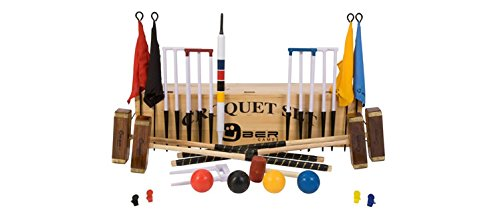 Bundle - 2 items: Uber Games 9 Wicket Croquet Set with Wooden Croquet Storage Box - Championship - 4 Player