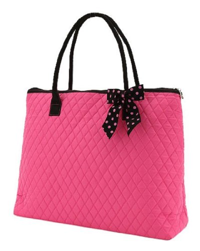 Belvah Extra Large Quilted Cotton Tote Handbag (Fuchsia Pink w Black Bow)
