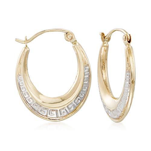 - Ross-Simons 14kt Two-Tone Gold Greek Key Oval Hoop Earrings
