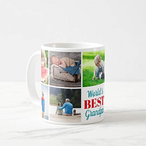 Funny World's Best Grandpa Grandkids 9 Photo Collage Coffee Mug 11oz Funny Gift Mug