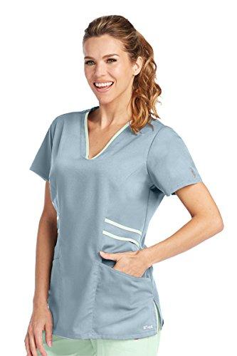 Grey's Anatomy Active 41458 V-Neck Top Moonstruck/Pistachio (Contrast Trim V-neck Scrub Top)