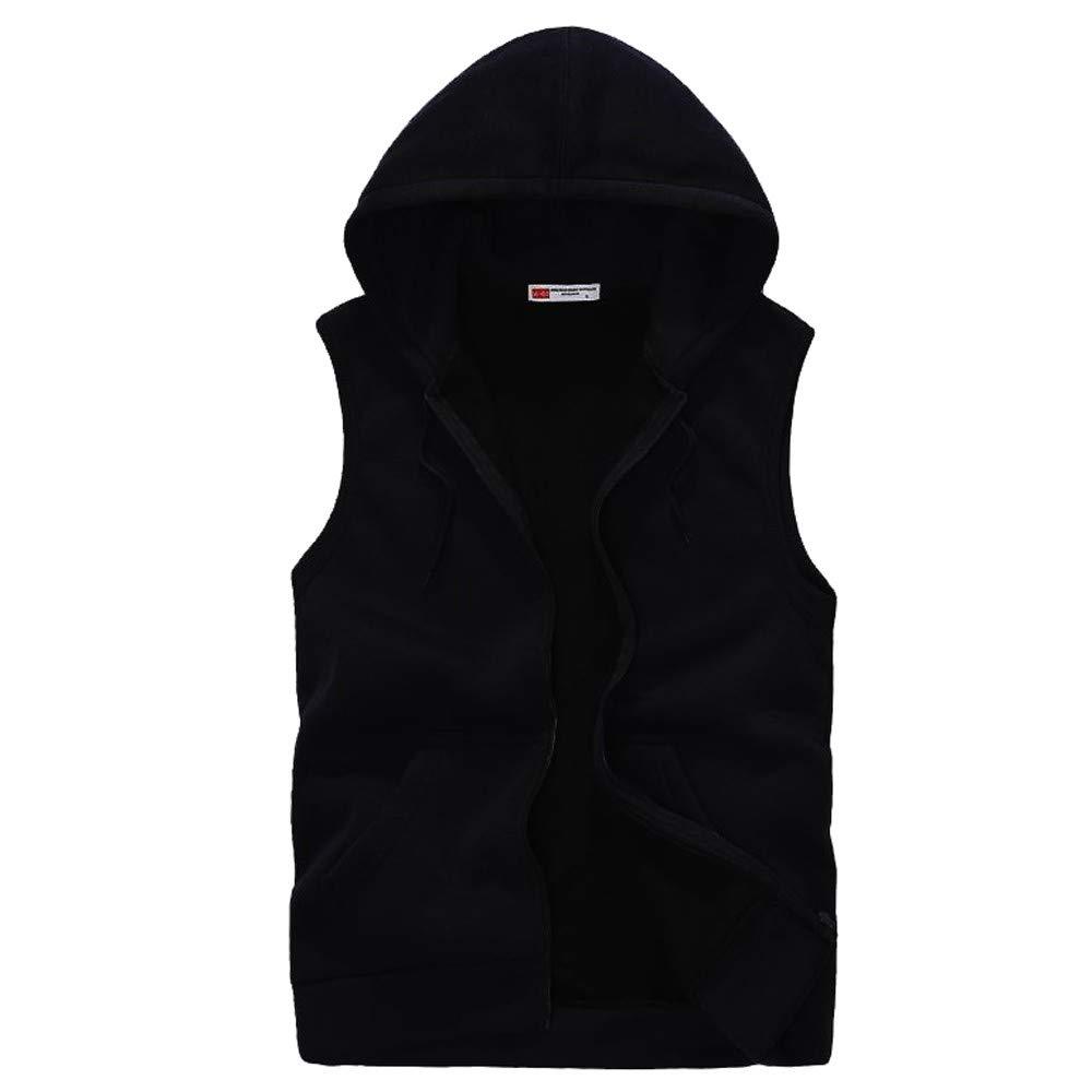 REYO Men's Sweatshirt Winter Clearance, Men Jacket Coat Padded Cotton Vest Hooded Thick Vest Tops Blouse
