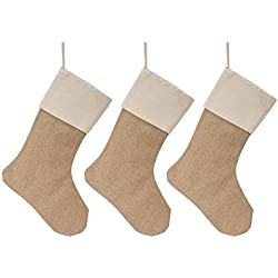 WeiVan Christmas Stocking Large Size Plain Burlap Décor, Set Of 3