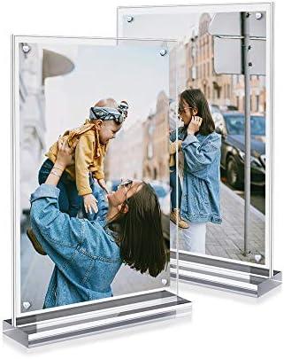 Marcos de Fotos de Sobremesa, A4, Metacrilato, Pantalla Magnética Desmontable con Imanes, 100% Transparente, 21 * 31 * 4.5cm, 2 Unidades: Amazon.es: Bebé