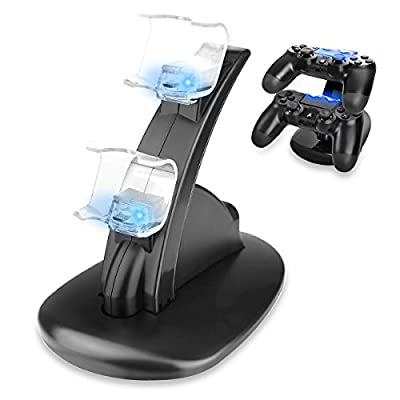 Sminiker PS4 Controller Charger Dock, LED Dual USB PS4 Charging Stand Station Cradle for Sony Playstation 4 Gaming Control with LED Indicator from Sminiker