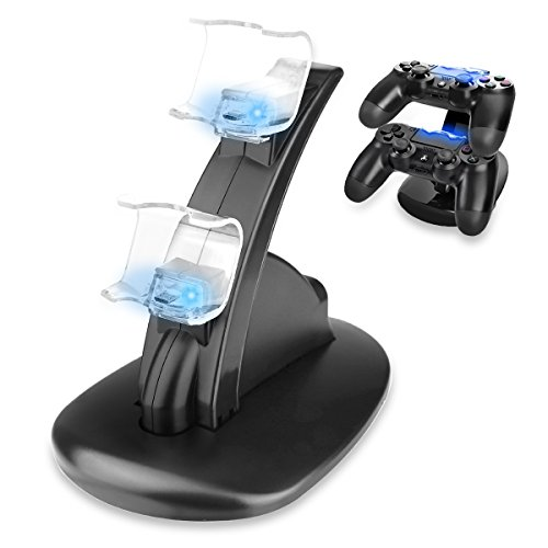 Sminiker PS4 Controller Charger Dock, LED Dual USB PS4 Charging Stand Station Cradle for Sony Playstation 4 Gaming Control with LED Indicator