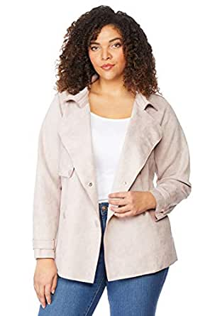 Beme Rebel Wilson Bonded Suede Trench Orchid Petal 2XL - Womens Plus Size Curvy