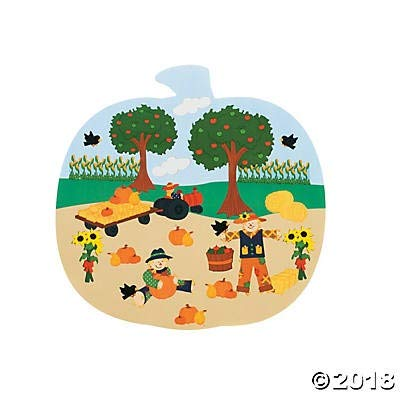 Fun Express- 24 Pumpkin Patch Shaped Sticker Scenes~Arts