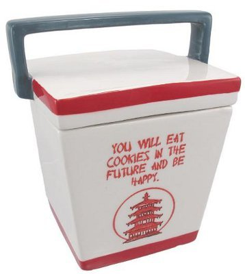 Chinese Take-Out Box Ceramic Cookie Jar Fortune by Things2Die4