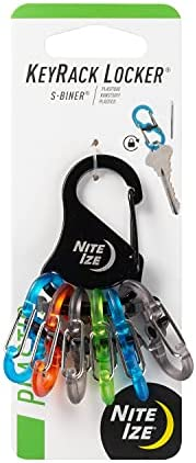 Nite Ize KeyRack Locker, Stainless Steel Carabiner Key Chain with 6 Colorful Locking S-Biners to Hold + Identi