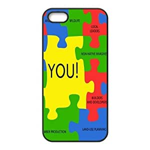 Autism Puzzle Pieces Printing iphone 4s Cases,Hard Silicone+PC Material, Case for iPhone 4 4s,Rubber Case Cover