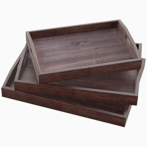 (Rustic Wooden Serving Trays with Handle - Set of 3 - Large, Medium and Small - Nesting Multipurpose Trays - for Breakfast, Coffee Table/Butler & More - Light & Sturdy Paulownia Wood - Torched Brown)