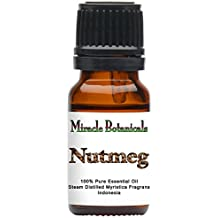 Miracle Botanicals Nutmeg Essential Oil - 100% Pure Myristica Fragrant - 10ml or 30ml Sizes - Therapeutic Grade - 10ml