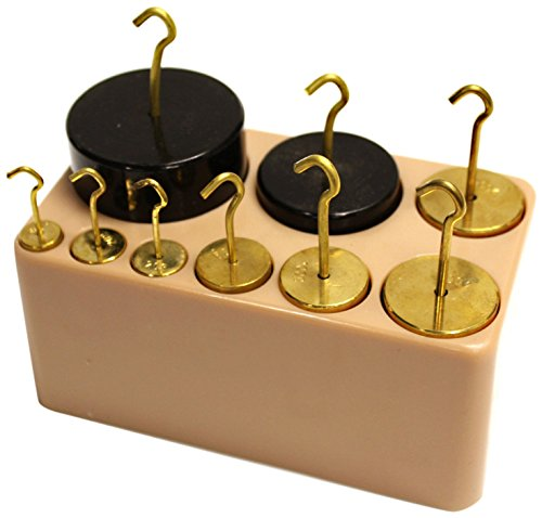 Sci-Supply LC2601 Cylindrical Mass Set with Hooks 9 Piece Pack of 9 Brass /& Painted Iron