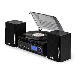 Auna MG-DS2 Sistema Multimedia Estéreo con Tocadiscos - Digitalizador Mp3 , Tracción por Correa MAX 45 RPM , Reproductor de CD , Radio FM , USB , SD , ...
