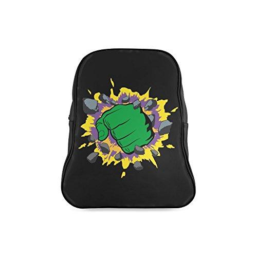 [Navarro Classic The Incredible Hulk Logo Children School High-grade PU Leather Backpack Bag Shoulder] (Hulk Classic Infant Costumes)