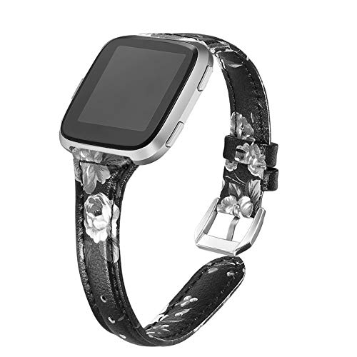 (bayite Bands Compatible Fitbit Versa, Slim Genuine Leather Band Replacement Accessories Strap Versa Women Flower Pattern 4)