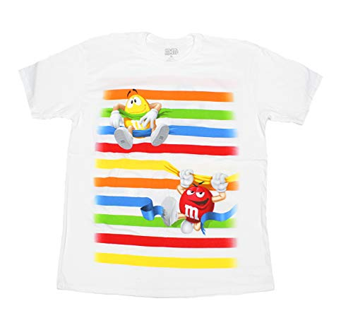 M&M's Candy Silly Character Face T-Shirt (X-Large, White Caught in - White T-shirt Character