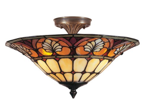 Dale Tiffany TM100598 Dylan Tiffany Flush Mount Light, Antique Brass and Art Glass Shade ()