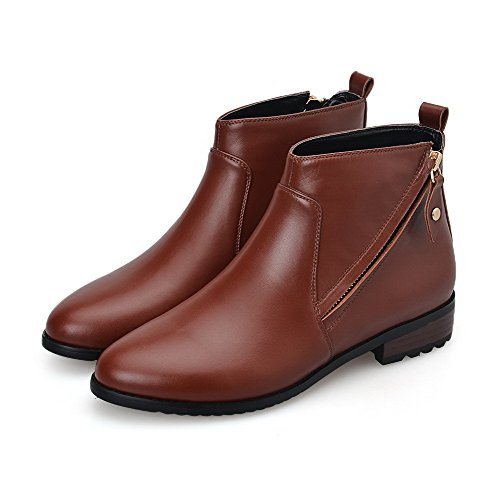 AmoonyFashion Womens Round Toe Closed Toe Low Heels Boots With Rough Heels and Zippers Brown WYWwcabCIU