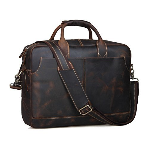 Texbo Genuine Leather Men's Briefcase Messenger Tote Bag Fit 17'' Laptop