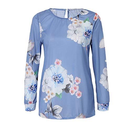 Impression Dcontracte Trydoit Blouse Rond Transparente Longues Femmes Chemise Manches Bleu Bouton t4aqS4w